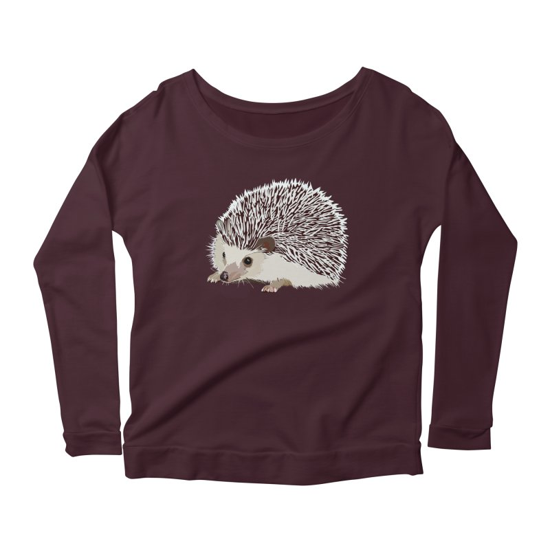Happy Hedgehog Women's Longsleeve Scoopneck  by DevilishDetails's Artist Shop