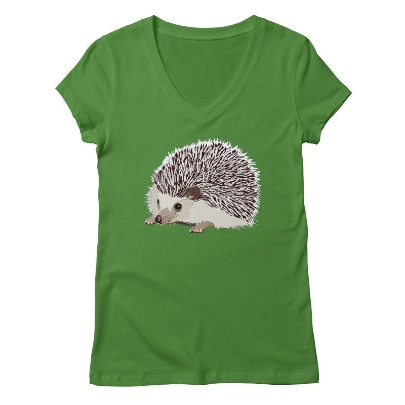 Happy Hedgehog Women's Regular V-Neck by DevilishDetails's Artist Shop