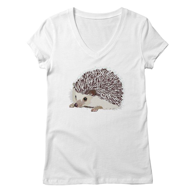 Happy Hedgehog Women's V-Neck by DevilishDetails's Artist Shop