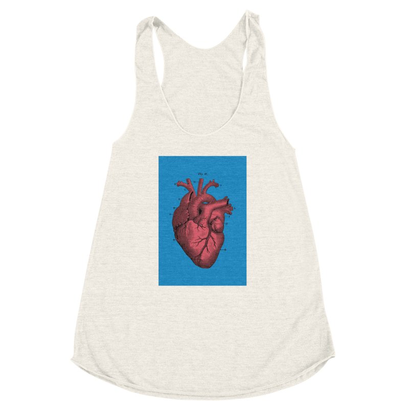 Vintage Anatomy Heart Women's Racerback Triblend Tank by The Digital Crafts Shop