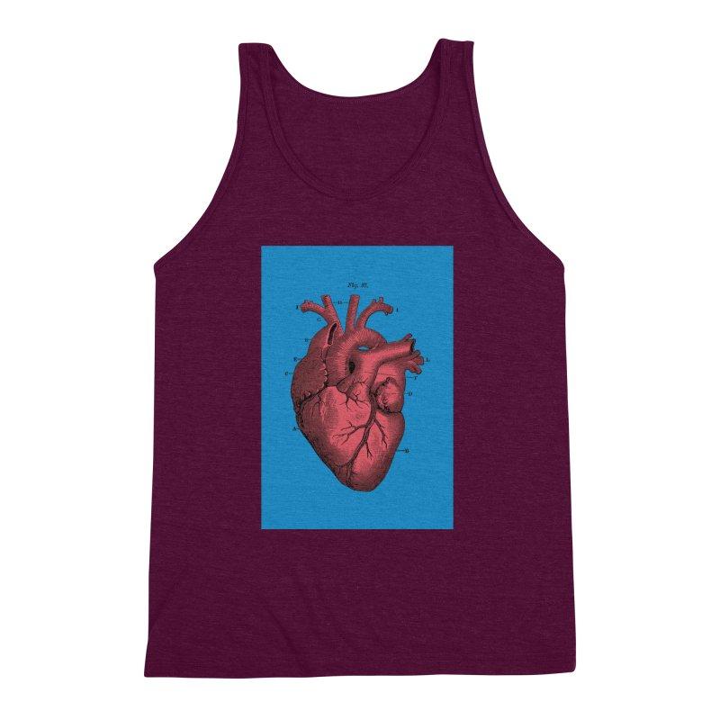 Vintage Anatomy Heart Men's Triblend Tank by The Digital Crafts Shop