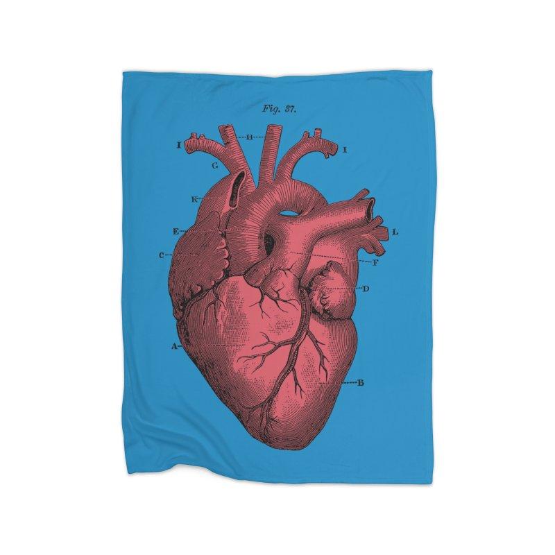 Vintage Anatomy Heart Illustration Home Fleece Blanket Blanket by The Digital Crafts Shop