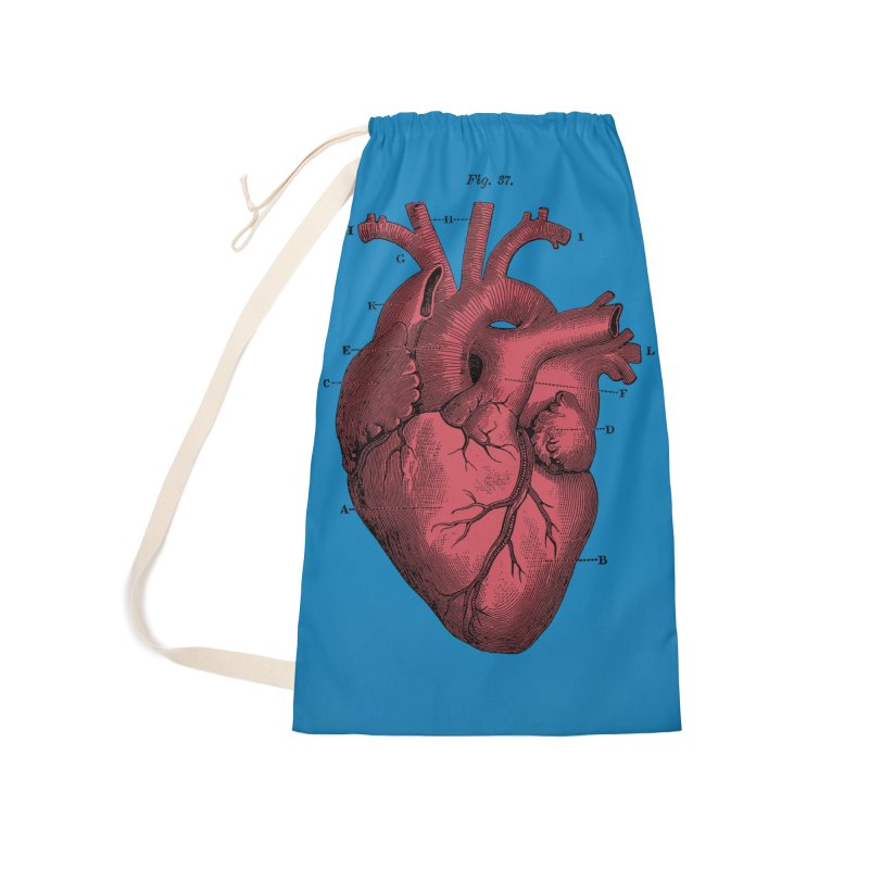 Vintage Anatomy Heart Illustration Accessories Bag by The Digital Crafts Shop