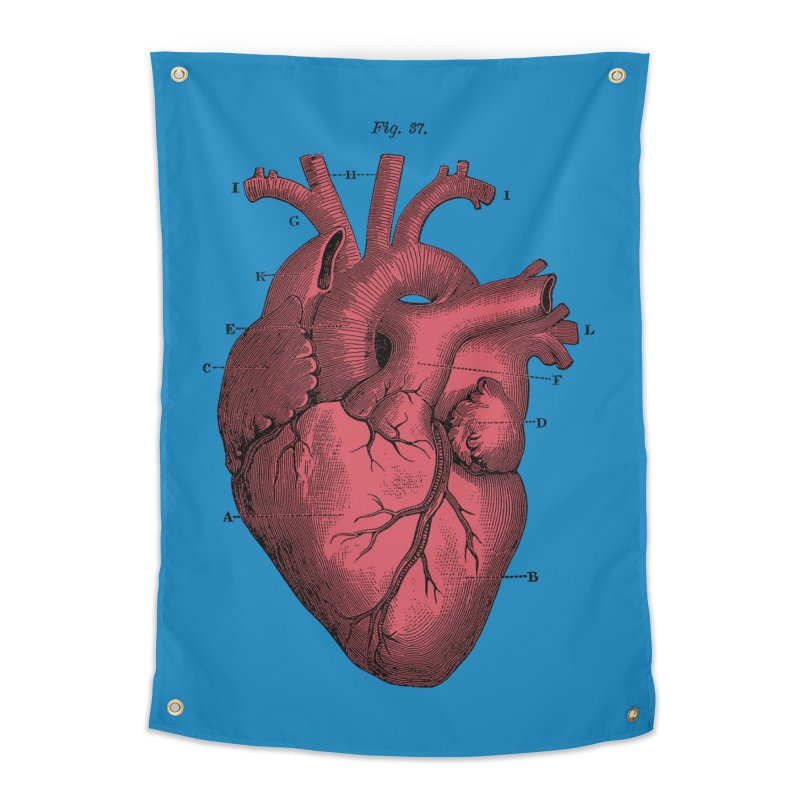 Vintage Anatomy Heart Illustration Home Tapestry by The Digital Crafts Shop