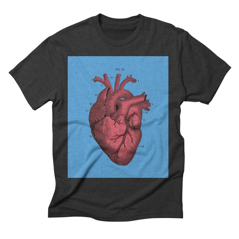 Vintage Anatomy Heart Illustration Men's Triblend T-Shirt by The Digital Crafts Shop