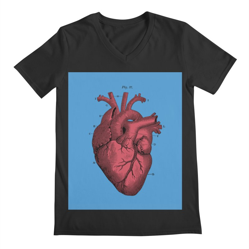 Vintage Anatomy Heart Illustration Men's V-Neck by The Digital Crafts Shop