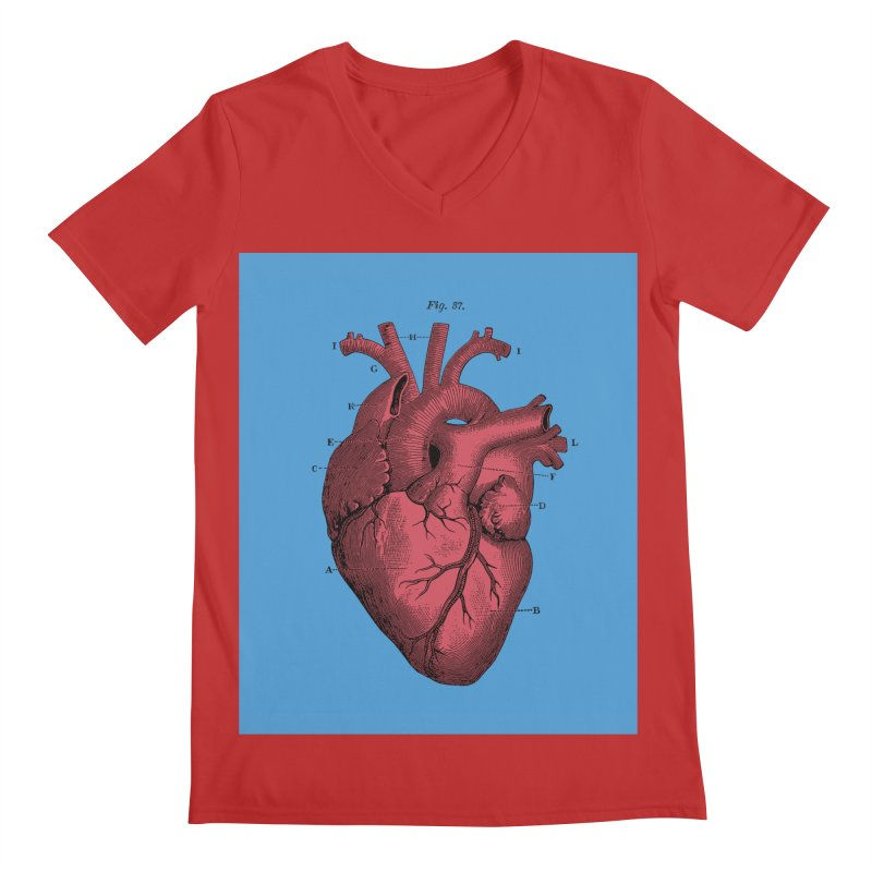 Vintage Anatomy Heart Illustration Men's Regular V-Neck by The Digital Crafts Shop