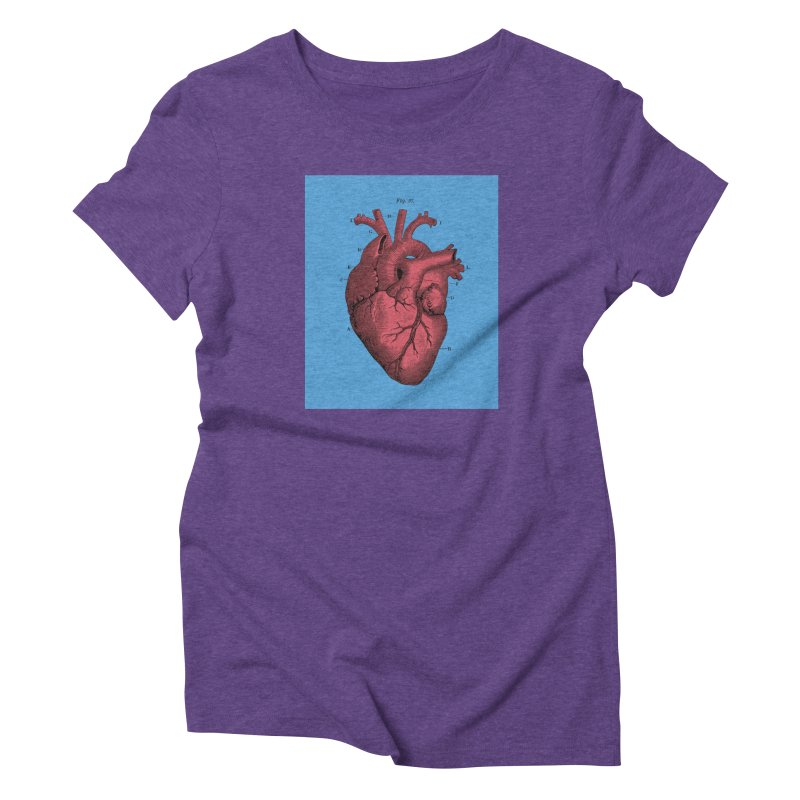 Vintage Anatomy Heart Illustration in Women's Triblend T-Shirt Tri-Purple by The Digital Crafts Shop