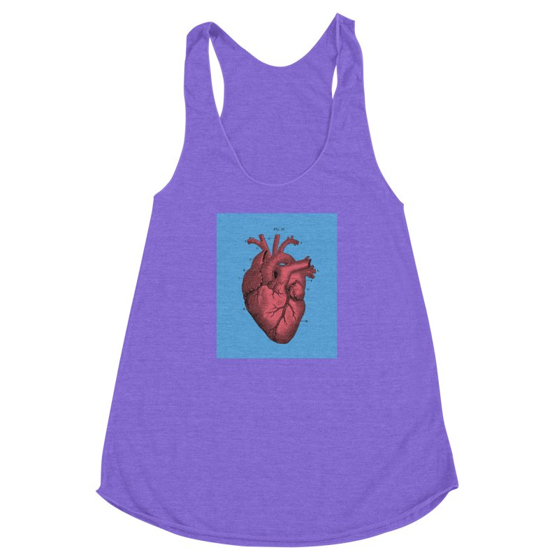 Vintage Anatomy Heart Illustration Women's Racerback Triblend Tank by The Digital Crafts Shop