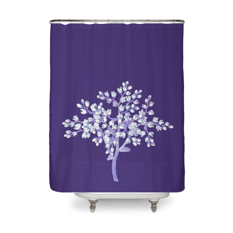 Purple Flower Tree Home Shower Curtain by The Digital Crafts Shop