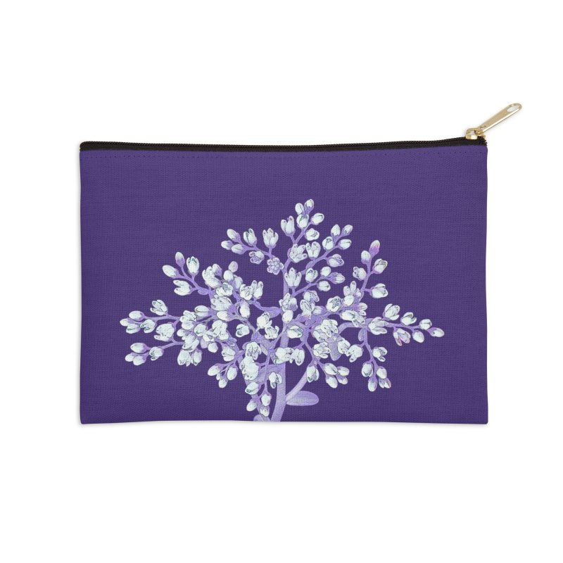 Purple Flower Tree Accessories Zip Pouch by The Digital Crafts Shop