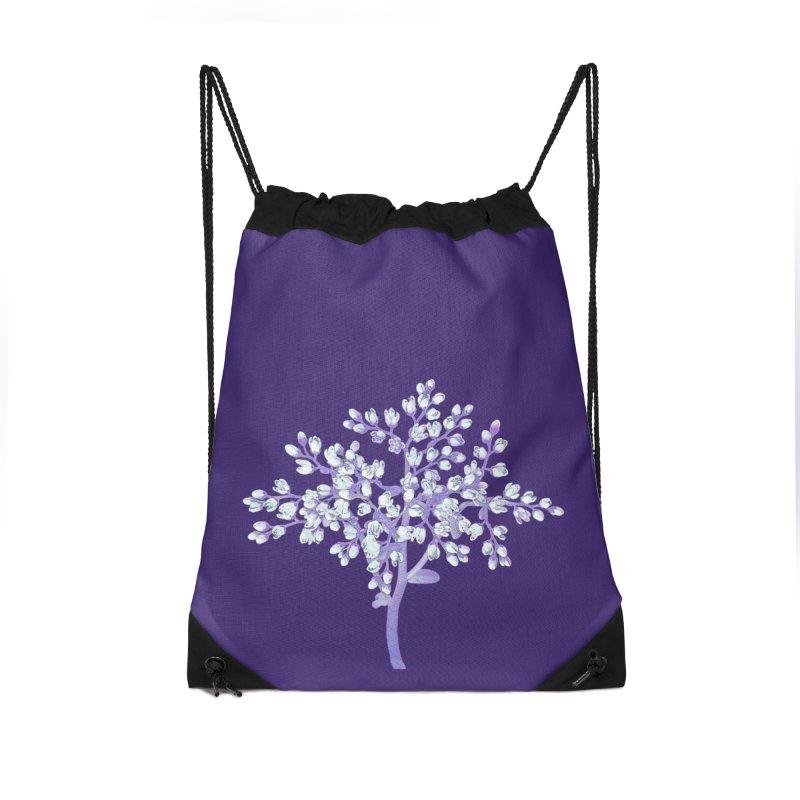 Purple Flower Tree Accessories Drawstring Bag Bag by The Digital Crafts Shop