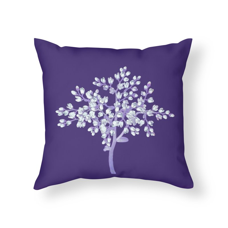 Purple Flower Tree Home Throw Pillow by The Digital Crafts Shop