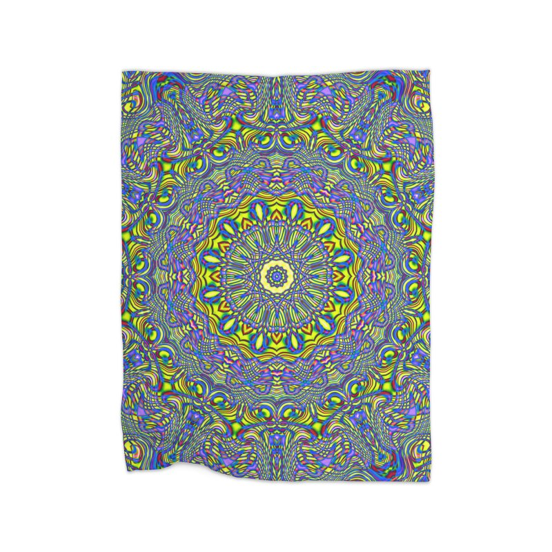 Lavender and Lime Kaleidoscope Mandala Home Blanket by The Digital Crafts Shop