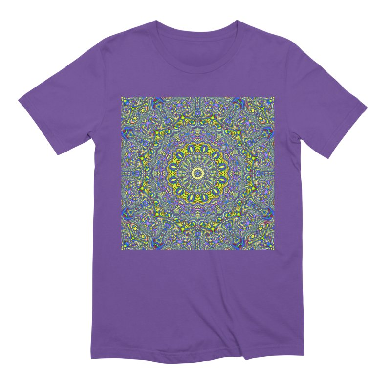 Lavender and Lime Kaleidoscope Mandala Men's Extra Soft T-Shirt by The Digital Crafts Shop