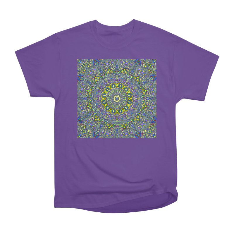 Lavender and Lime Kaleidoscope Mandala Women's Heavyweight Unisex T-Shirt by The Digital Crafts Shop