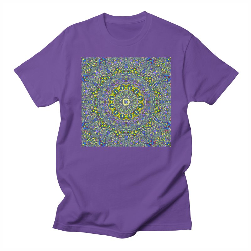 Lavender and Lime Kaleidoscope Mandala Women's Regular Unisex T-Shirt by The Digital Crafts Shop