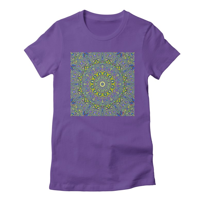 Lavender and Lime Kaleidoscope Mandala Women's Fitted T-Shirt by The Digital Crafts Shop