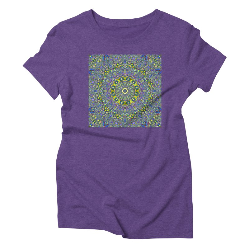 Lavender and Lime Kaleidoscope Mandala Women's Triblend T-Shirt by The Digital Crafts Shop