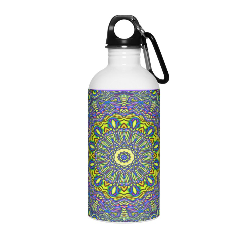 Lavender and Lime Kaleidoscope Mandala Accessories Water Bottle by The Digital Crafts Shop