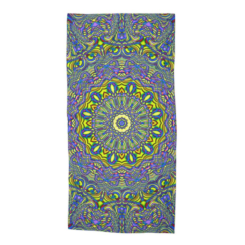 Lavender and Lime Kaleidoscope Mandala Accessories Beach Towel by The Digital Crafts Shop