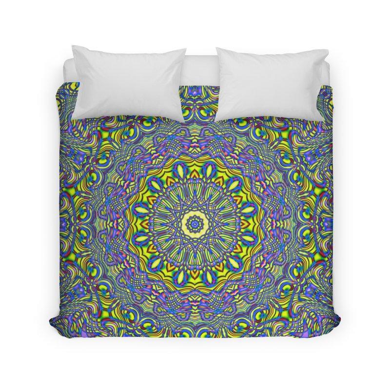 Lavender and Lime Kaleidoscope Mandala Home Duvet by The Digital Crafts Shop