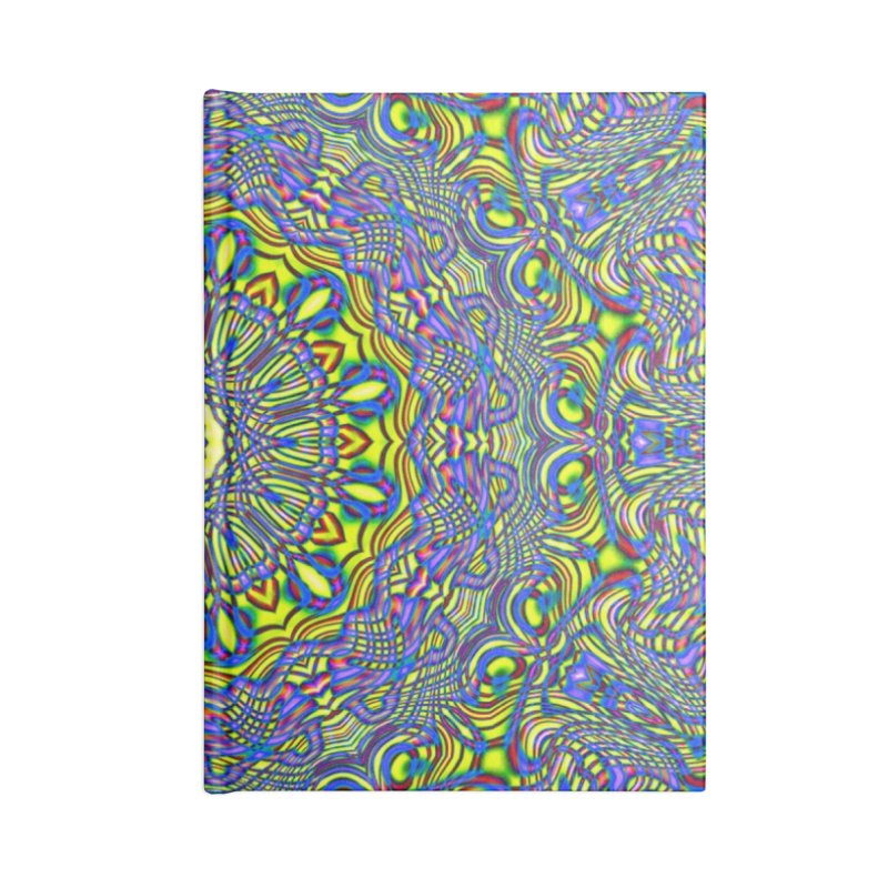 Lavender and Lime Kaleidoscope Mandala Accessories Lined Journal Notebook by The Digital Crafts Shop