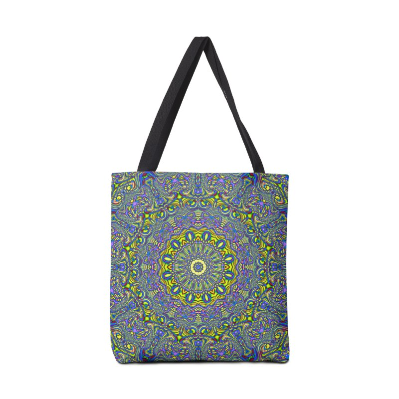 Lavender and Lime Kaleidoscope Mandala Accessories Bag by The Digital Crafts Shop