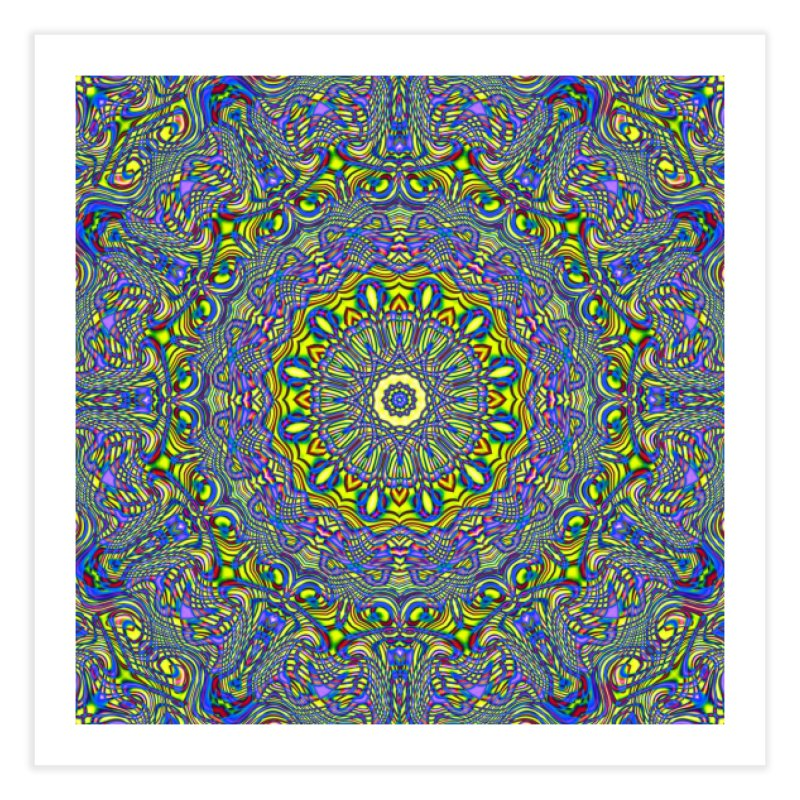 Lavender and Lime Kaleidoscope Mandala Home Fine Art Print by The Digital Crafts Shop