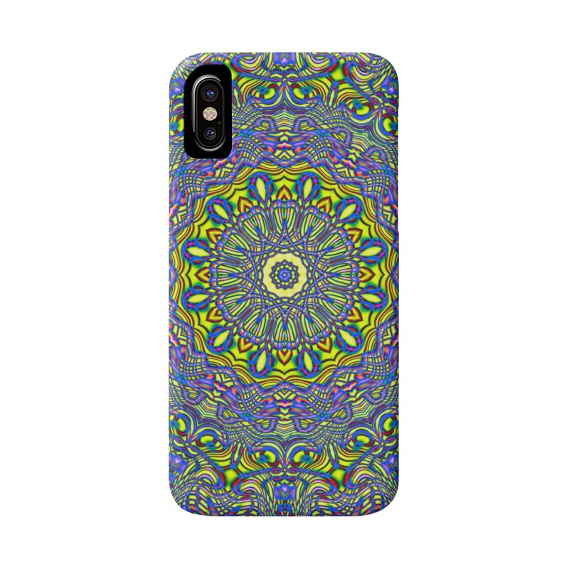 Lavender and Lime Kaleidoscope Mandala Accessories Phone Case by The Digital Crafts Shop