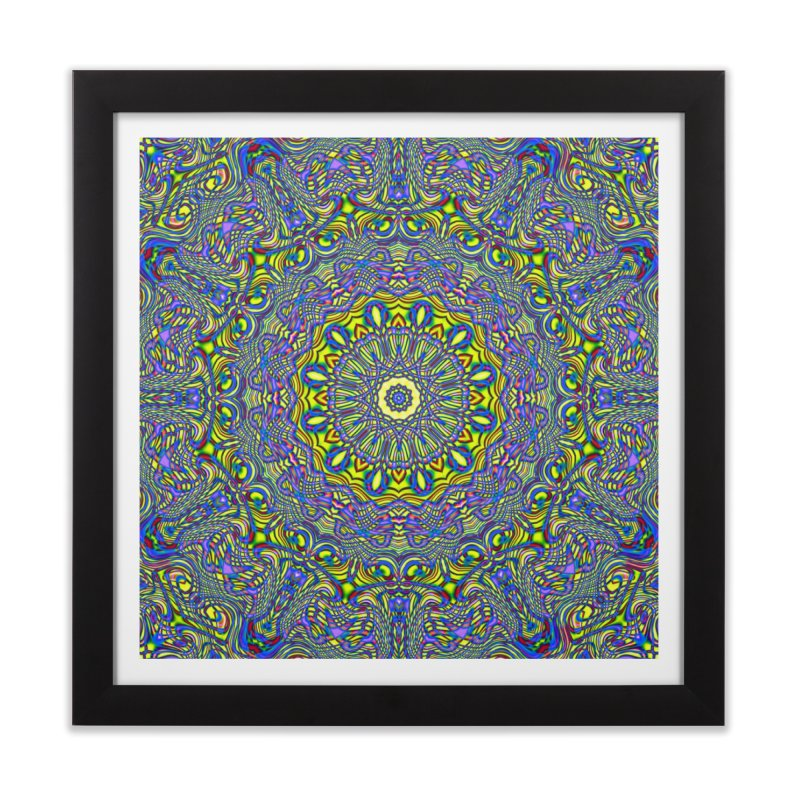 Lavender and Lime Kaleidoscope Mandala Home Framed Fine Art Print by The Digital Crafts Shop