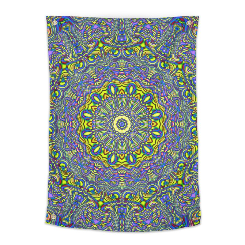 Lavender and Lime Kaleidoscope Mandala Home Tapestry by The Digital Crafts Shop