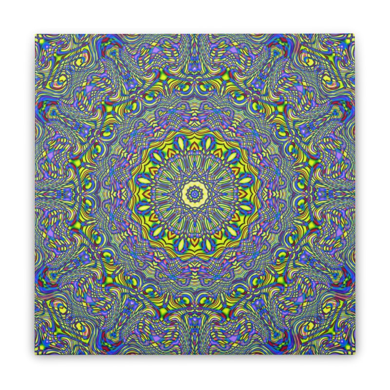 Lavender and Lime Kaleidoscope Mandala Home Stretched Canvas by The Digital Crafts Shop