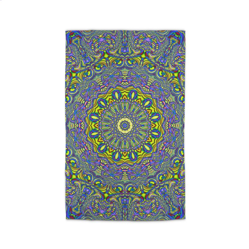 Lavender and Lime Kaleidoscope Mandala Home Rug by The Digital Crafts Shop