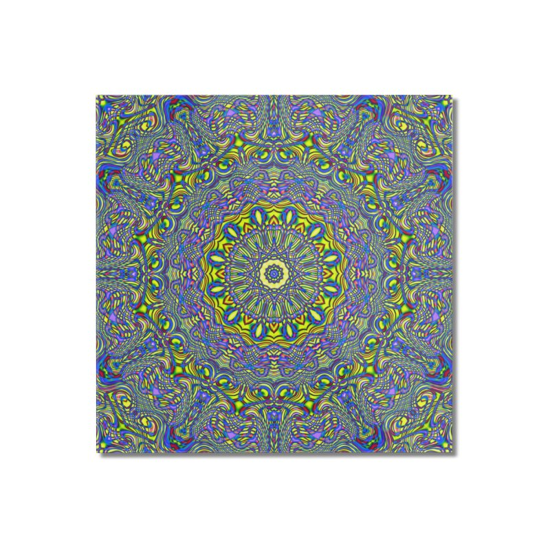 Lavender and Lime Kaleidoscope Mandala Home Mounted Acrylic Print by The Digital Crafts Shop