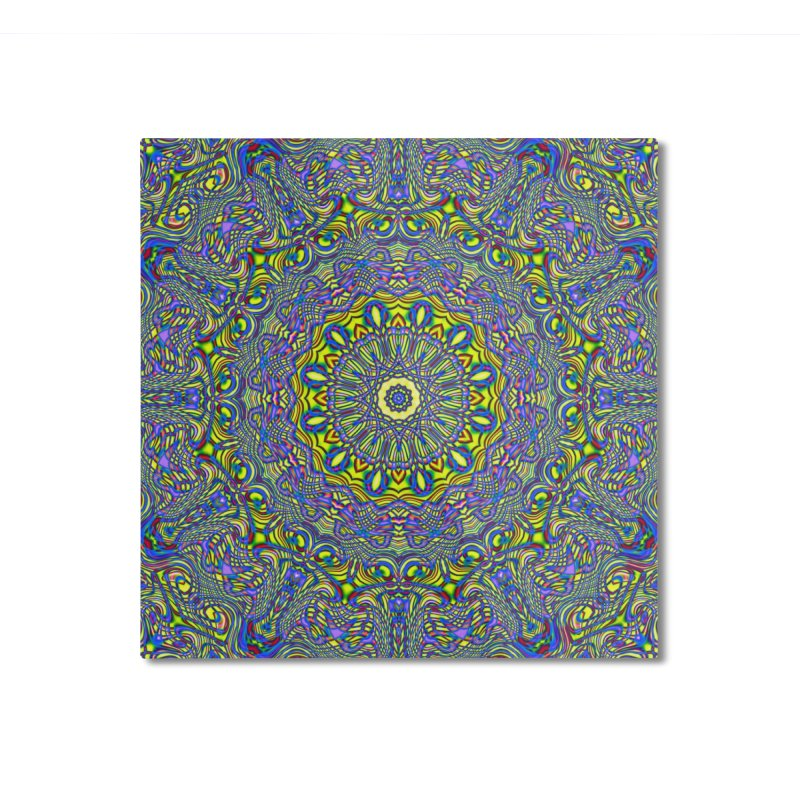 Lavender and Lime Kaleidoscope Mandala Home Mounted Aluminum Print by The Digital Crafts Shop