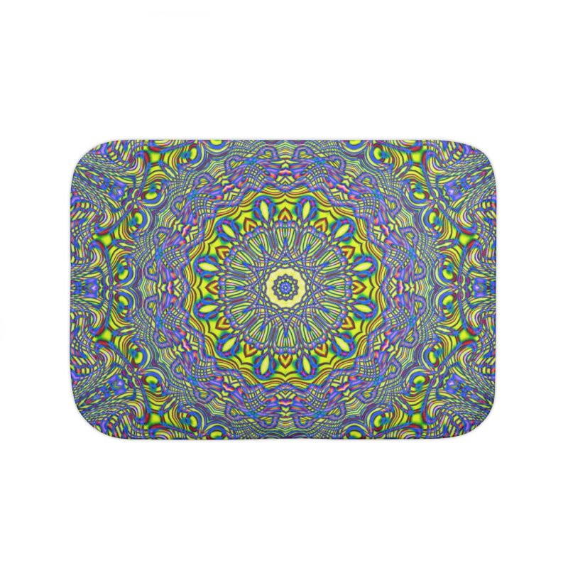Lavender and Lime Kaleidoscope Mandala Home Bath Mat by The Digital Crafts Shop