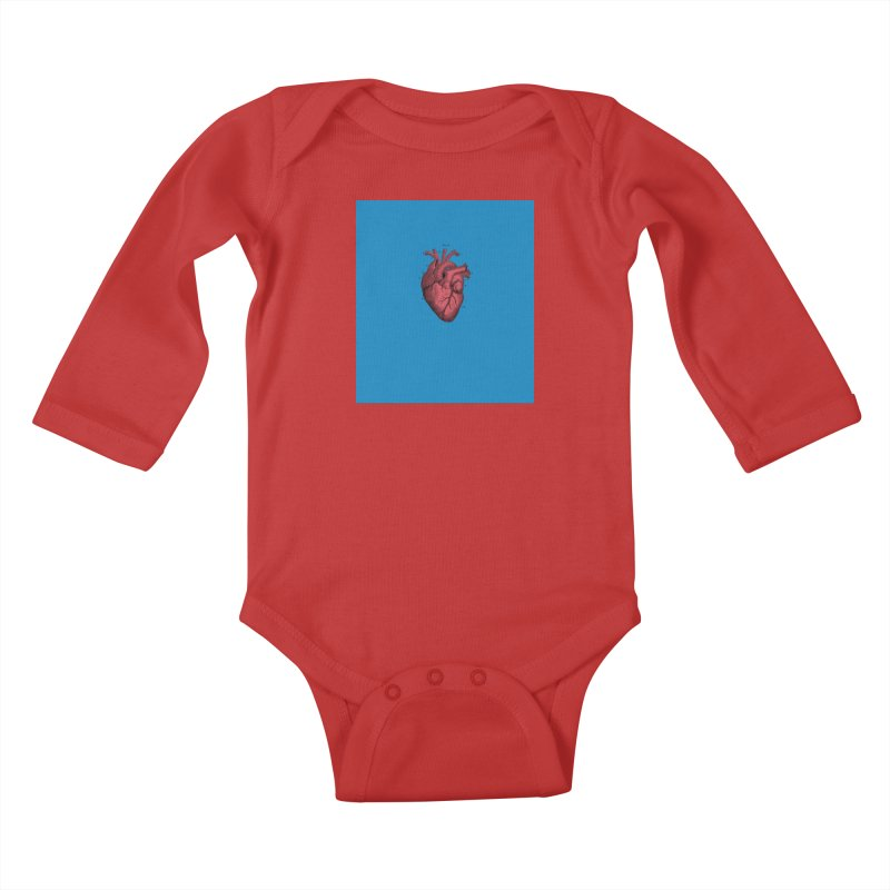 Vintage Anatomical Heart Kids Baby Longsleeve Bodysuit by The Digital Crafts Shop