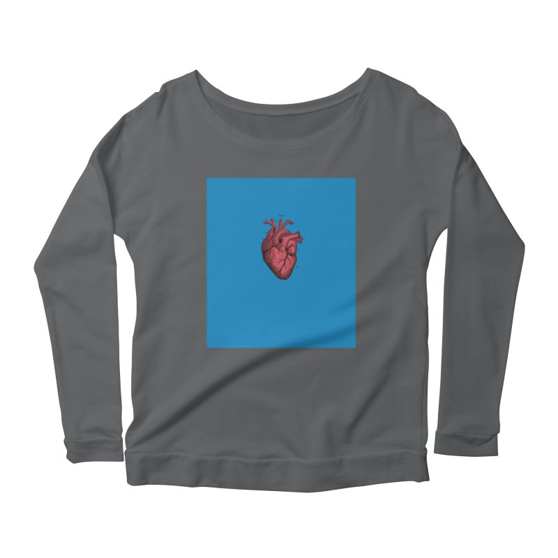 Vintage Anatomical Heart Women's Scoop Neck Longsleeve T-Shirt by The Digital Crafts Shop