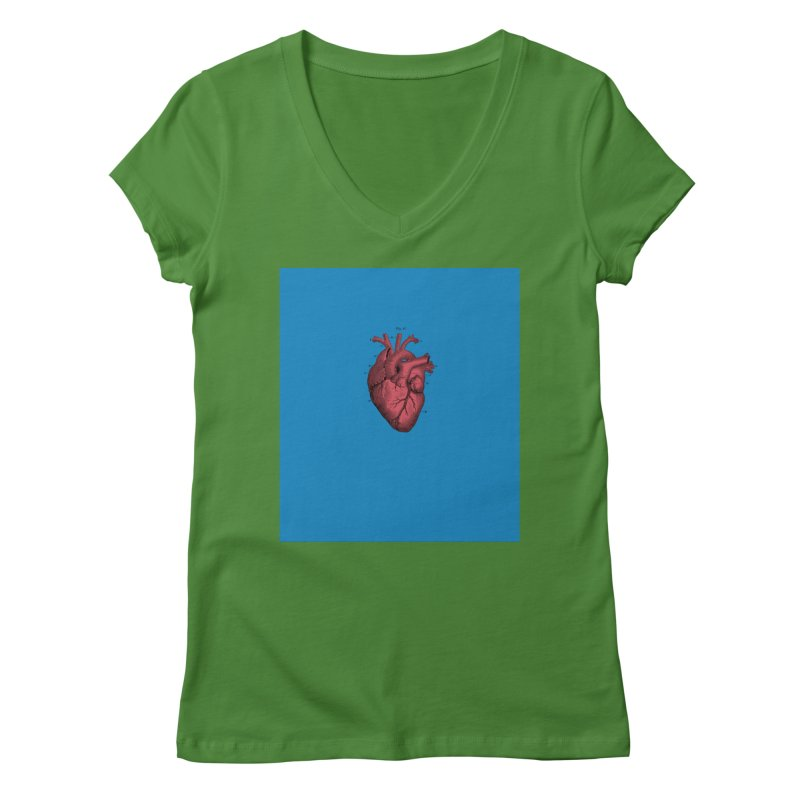 Vintage Anatomical Heart Women's V-Neck by The Digital Crafts Shop