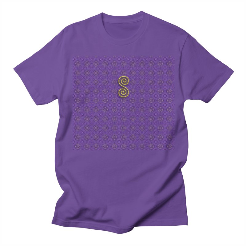 Golden Spiral on Purple Pattern Women's Regular Unisex T-Shirt by The Digital Crafts Shop
