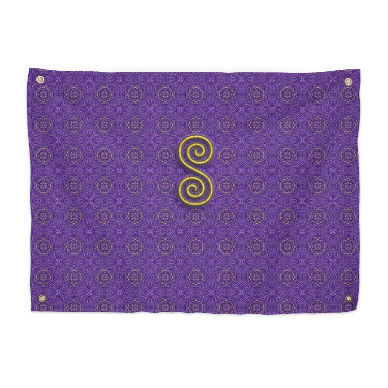Golden Spiral on Purple Pattern Home Tapestry by The Digital Crafts Shop