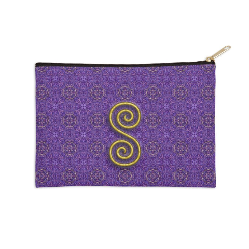 Golden Spiral on Purple Pattern Accessories Zip Pouch by The Digital Crafts Shop