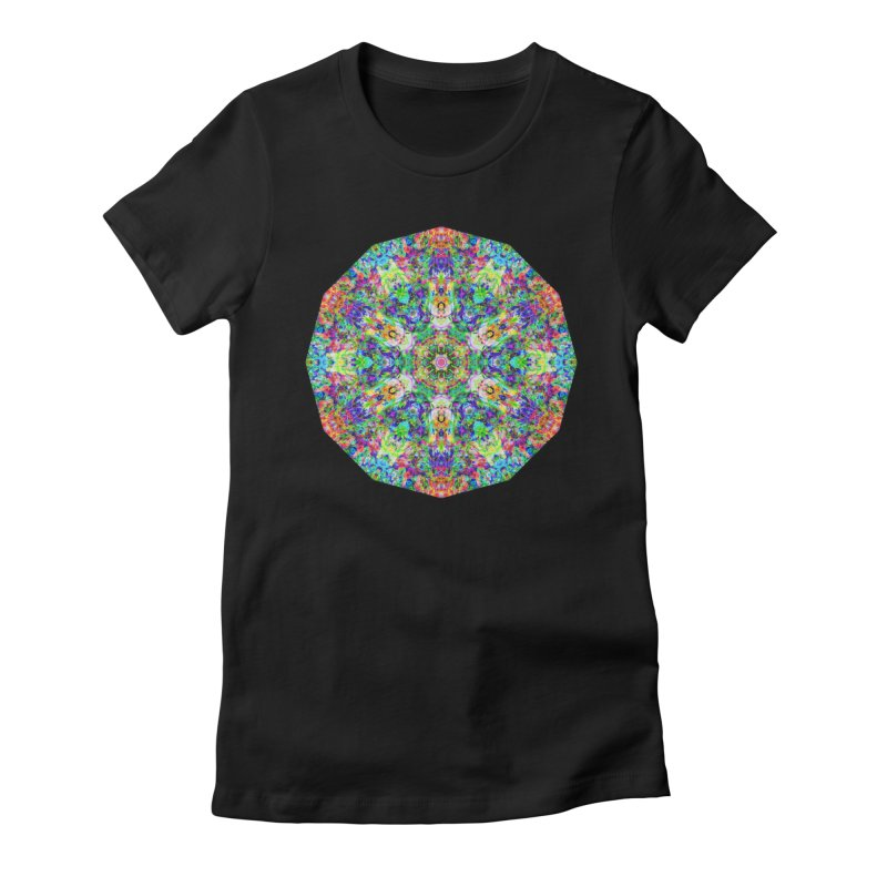 Emphasis 31 Mandala Kaleidoscope Women's Fitted T-Shirt by The Digital Crafts Shop