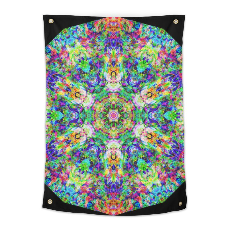 Emphasis 31 Mandala Kaleidoscope Home Tapestry by The Digital Crafts Shop