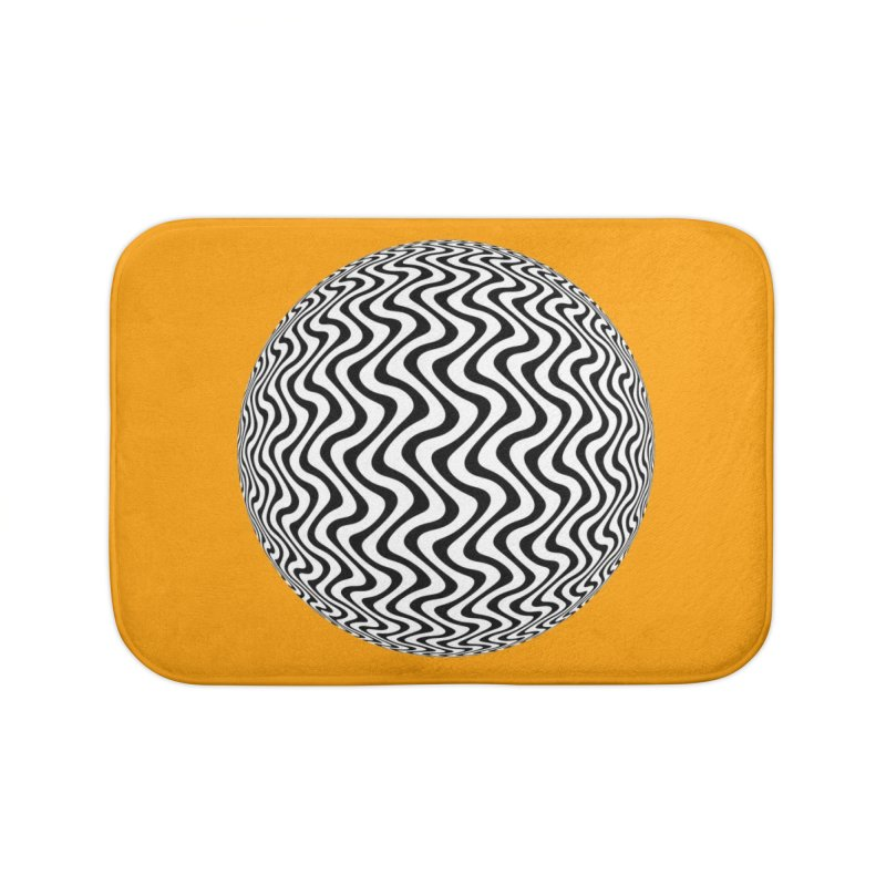 Decorative Black and White Op Art on Orange Home Bath Mat by The Digital Crafts Shop