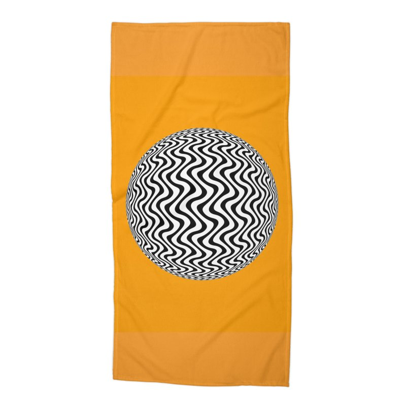 Decorative Black and White Op Art on Orange Accessories Beach Towel by The Digital Crafts Shop
