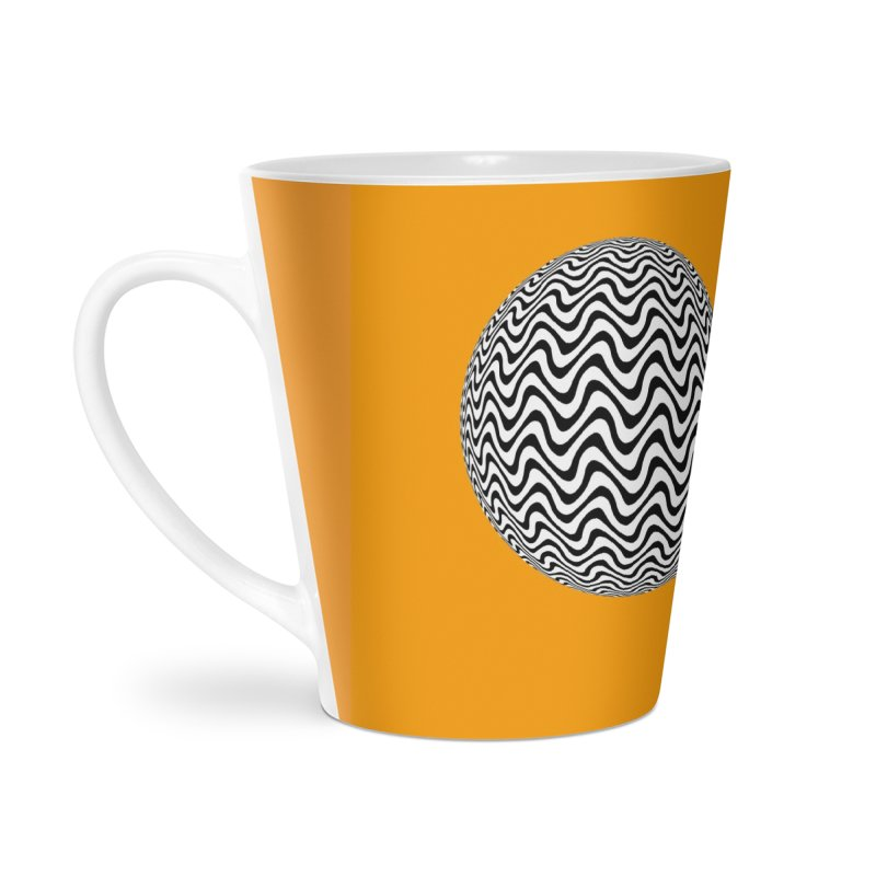 Decorative Black and White Op Art on Orange Accessories Latte Mug by The Digital Crafts Shop