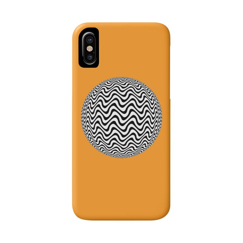 Decorative Black and White Op Art on Orange Accessories Phone Case by The Digital Crafts Shop