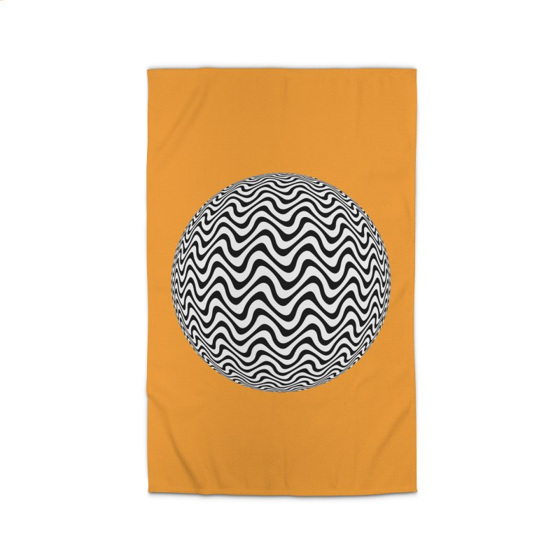 Decorative Black and White Op Art on Orange Home Rug by The Digital Crafts Shop